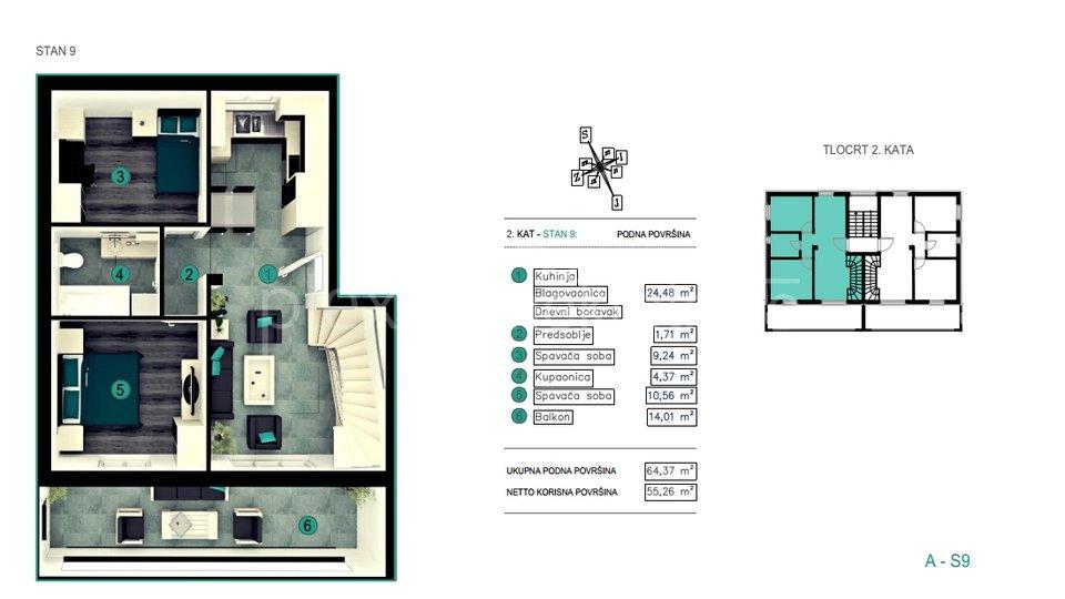 NOVOGRADNJA! Dvoetažni trosoban stan: Split - okolica, Kaštel Kambelovac, 95 m2