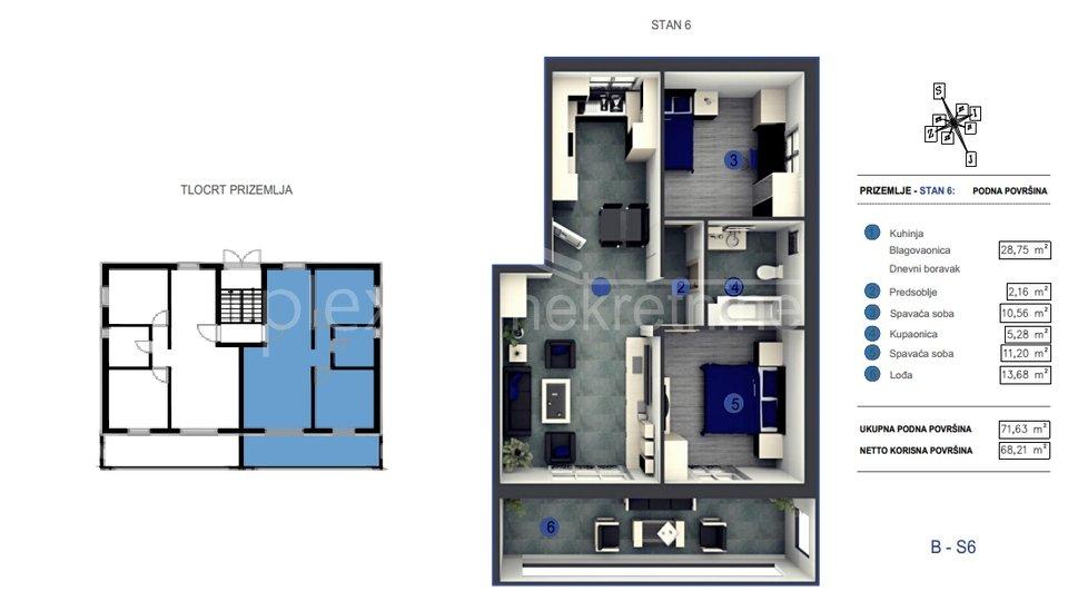 NOVOGRADNJA! Dvosoban stan: Split - okolica, Kaštel Kambelovac, 68 m2