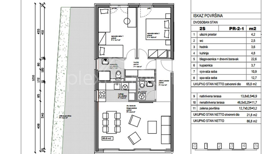 NOVOGRADNJA: Dvosoban stan: Split, Kman, 83,60 m2