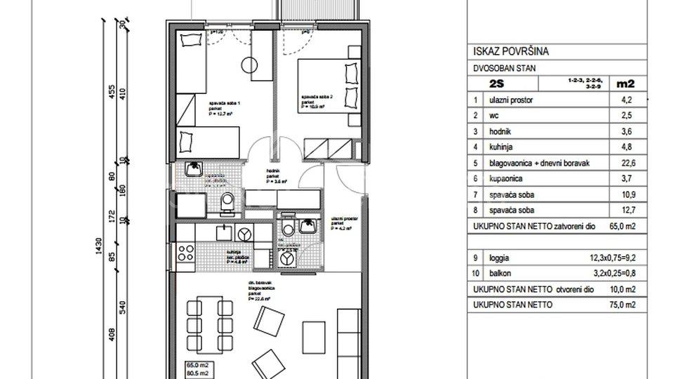 NOVOGRADNJA: Dvosoban stan: Split, Kman, 75 m2