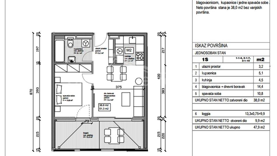 NOVOGRADNJA: Jednosoban stan: Split, Kman, 47,60 m2