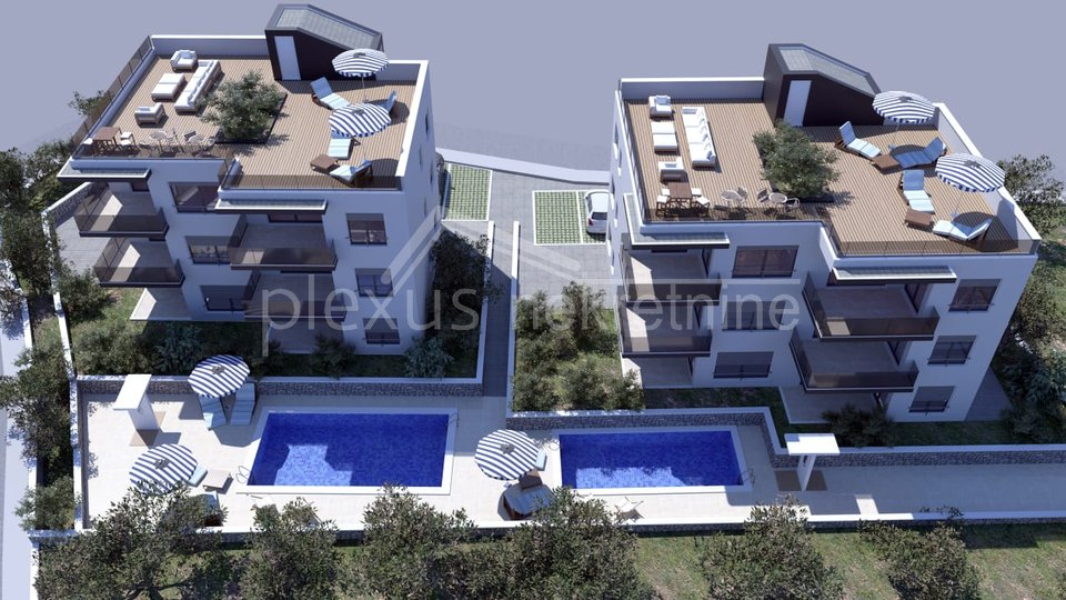 Luksuzni dvosoban stan s bazenom: Okrug Gornji, 60 m2