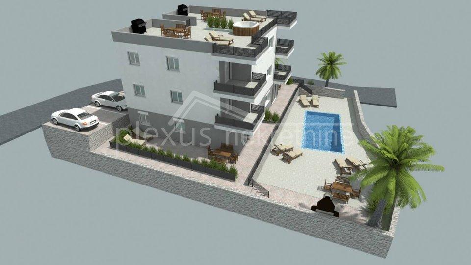 NOVOGRADNJA: Dvosobni stan s bazenom: Čiovo, Okug Gornji, 63 m2