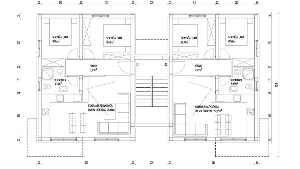 NOVOGRADNJA: Dvosoban stan s vrtom u manjoj zgradi: Trogir, 55 m2