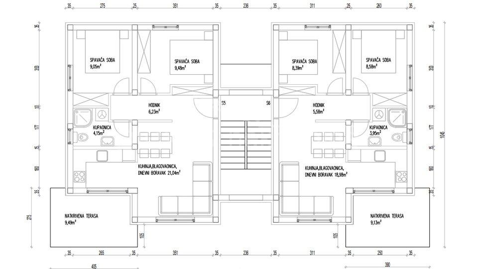 NOVOGRADNJA: Dvosoban stan s vrtom u manjoj zgradi: Trogir, 59 m2